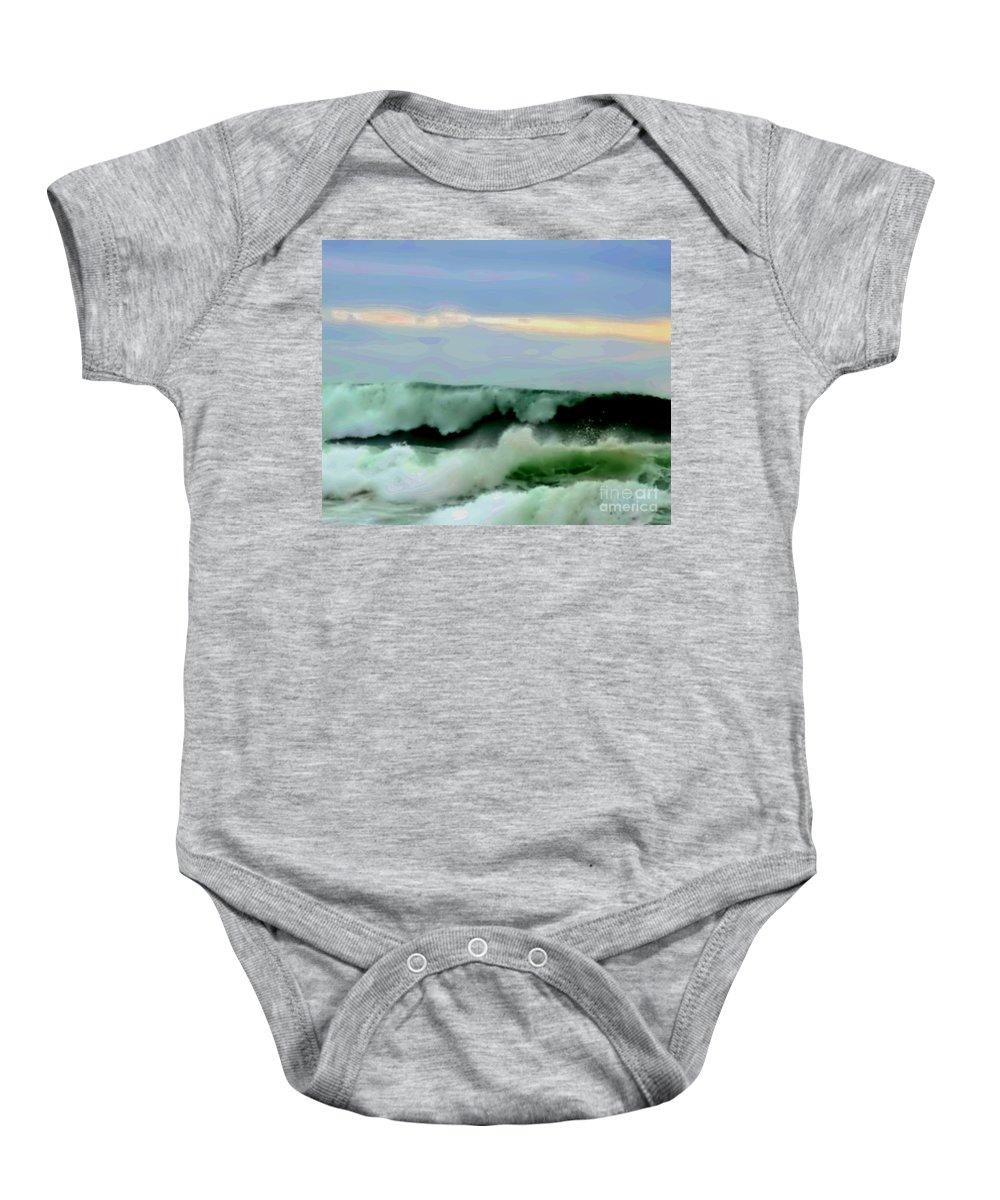 Blair Stuart Baby Onesie featuring the digital art Ocean Power by Blair Stuart