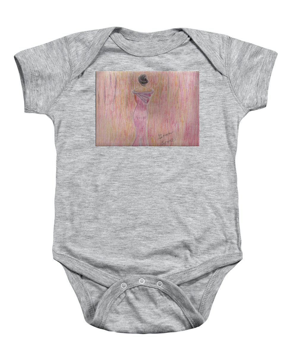 Woman In Pink Facing Foward Baby Onesie featuring the mixed media Pink Lady by Mary Potts