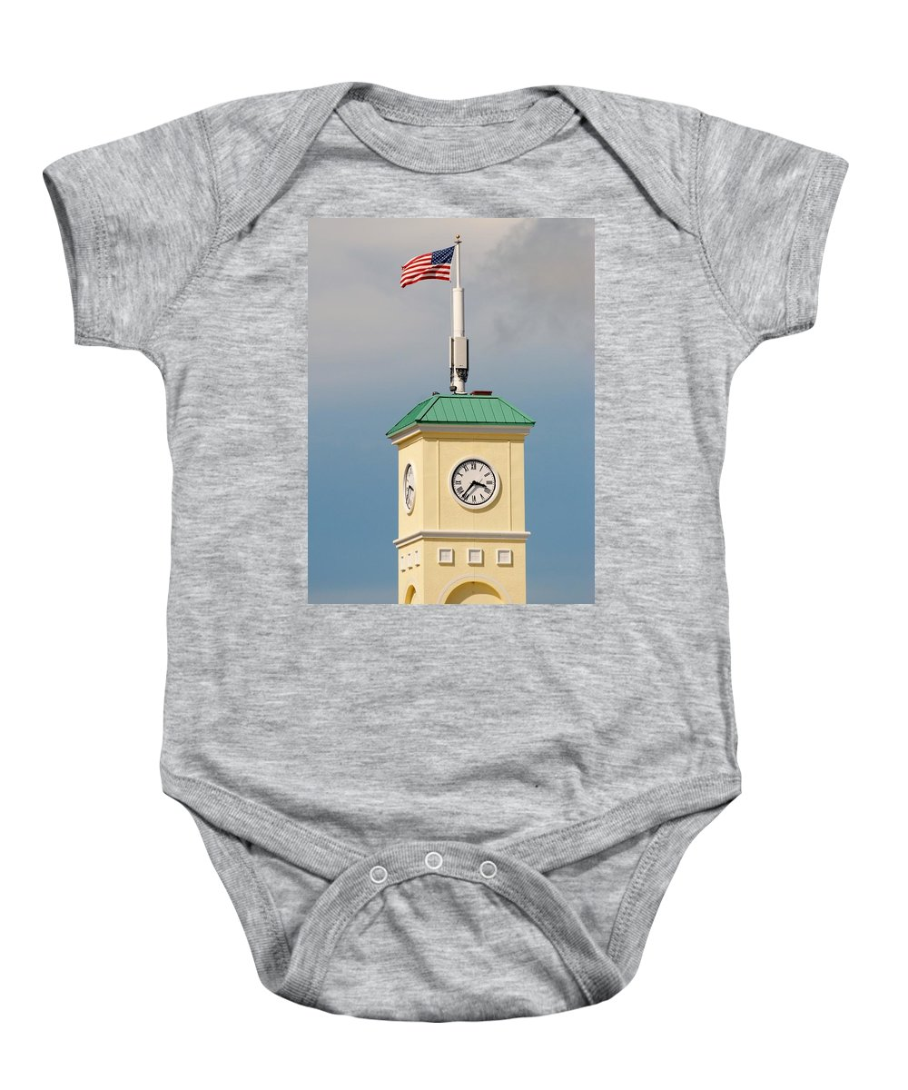 Clocktower Baby Onesie featuring the photograph Save The Clock Tower by Rob Hans
