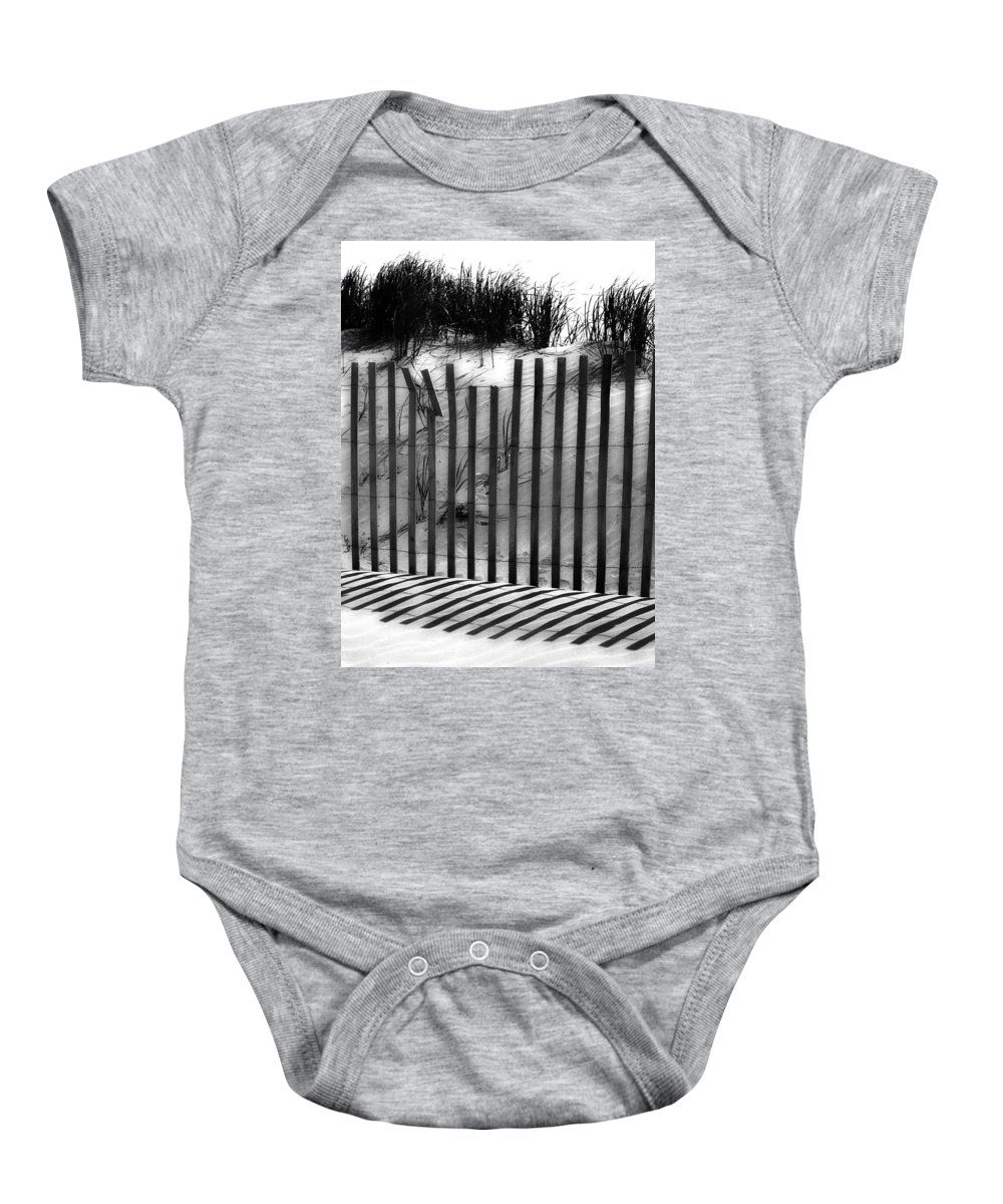 Sand Baby Onesie featuring the photograph Soliciting The Sand by The Artist Project