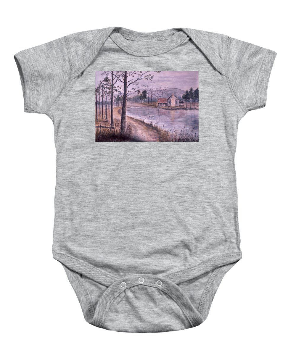 Morning Baby Onesie featuring the painting South Carolina Morning by Ben Kiger