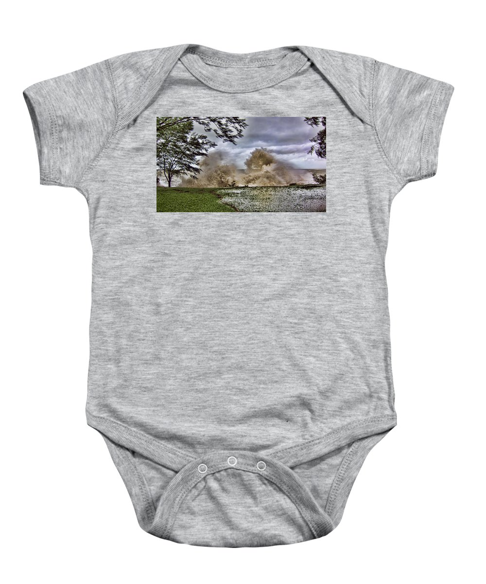 Monsoon Baby Onesie featuring the photograph Stormy Seas by Douglas Barnard