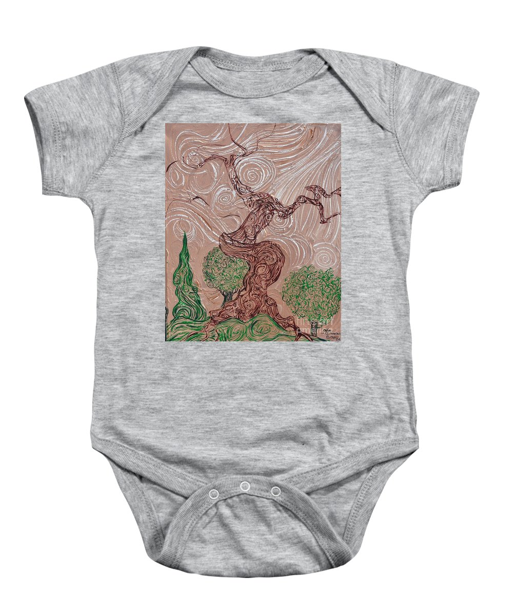 Tree Baby Onesie featuring the painting The Earthen Tree by Stefan Duncan