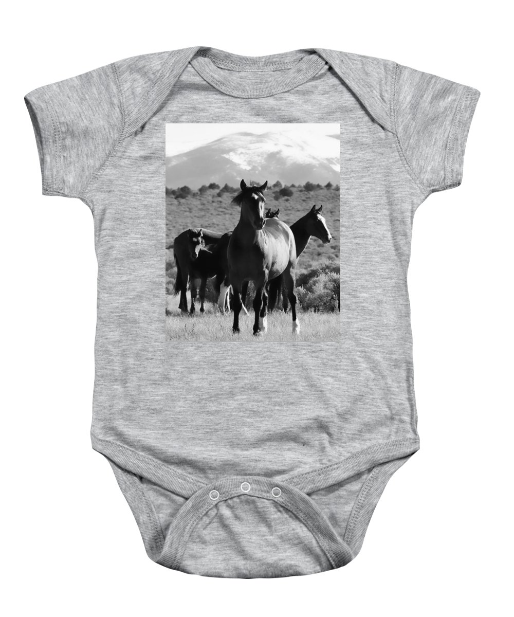 Horse Baby Onesie featuring the photograph The Family Wild by Terry Fiala