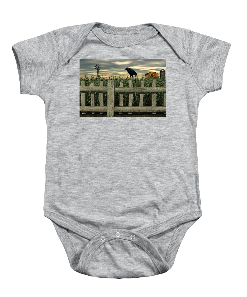 Raven Baby Onesie featuring the digital art The Raven by Michael Stowers