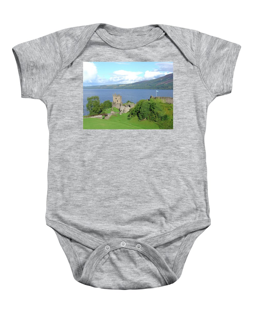 Loch Baby Onesie featuring the photograph Urquhart Castle by Charles and Melisa Morrison