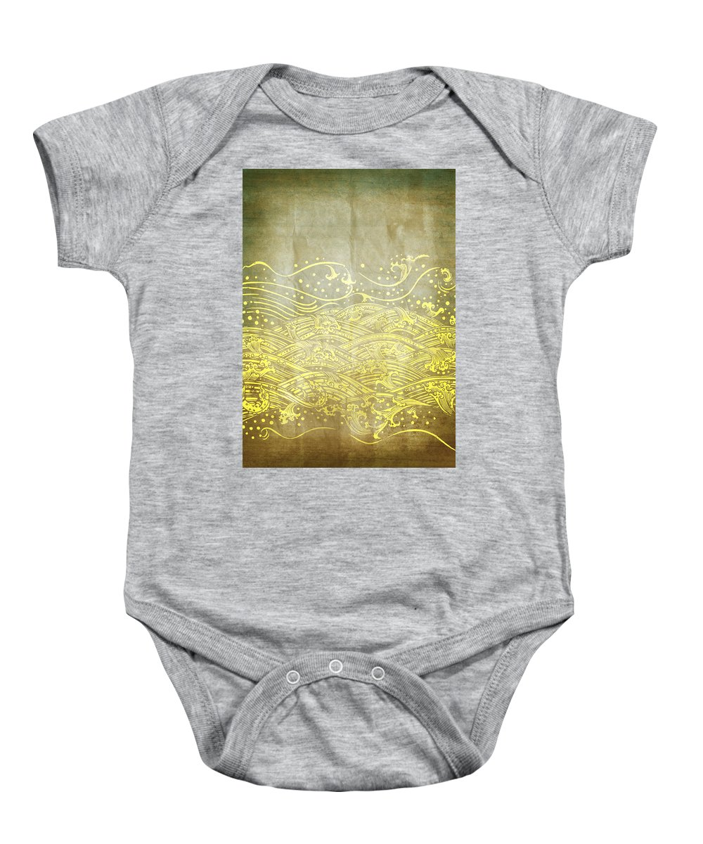 Abstract Baby Onesie featuring the photograph Water Pattern On Old Paper by Setsiri Silapasuwanchai