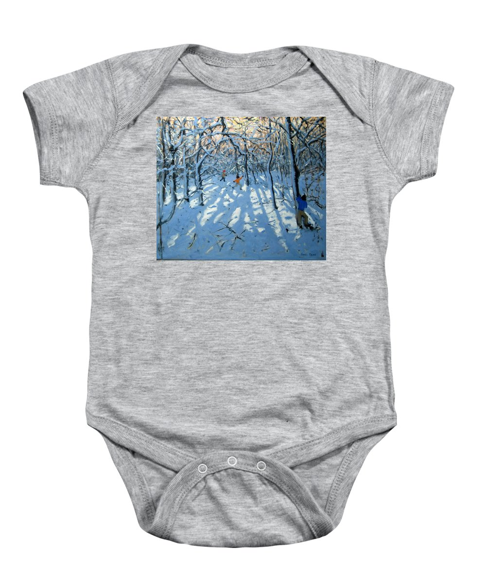 English Landscape Baby Onesie featuring the painting Winter Woodland Near Newhaven Derbyshire by Andrew Macara