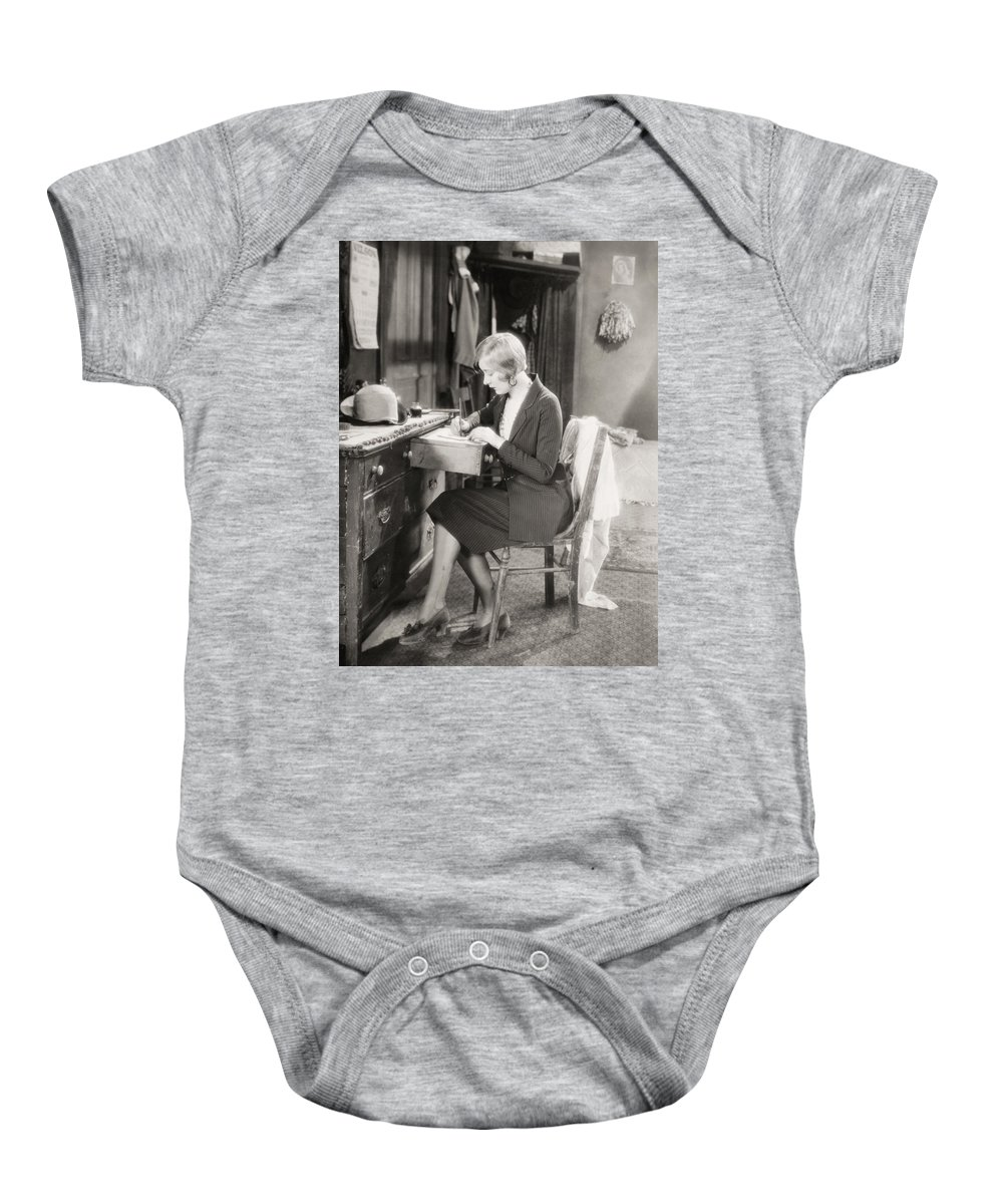 -women Single Figures- Baby Onesie featuring the photograph Silent Film Still: Woman by Granger