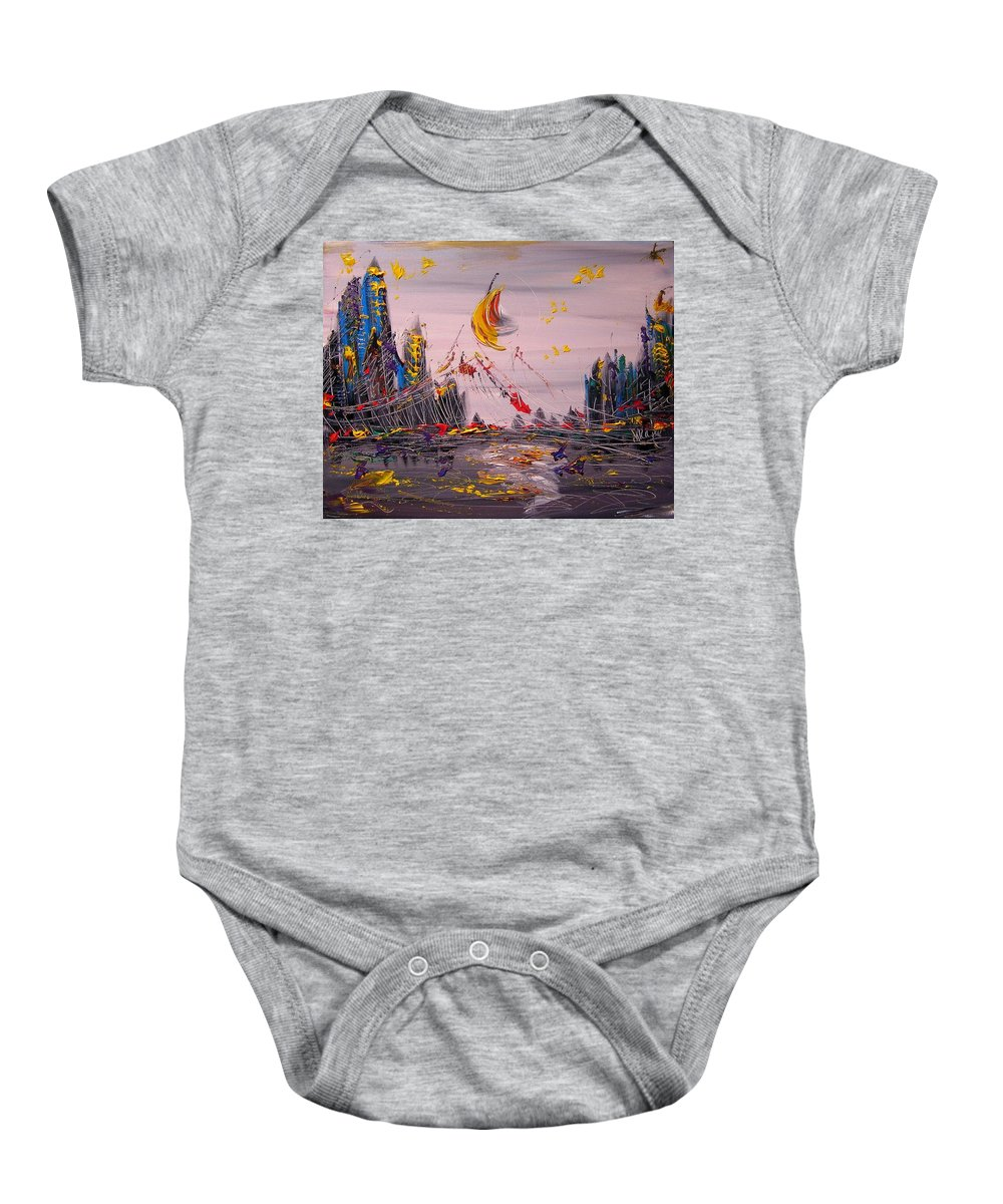 Baby Onesie featuring the painting NYC by Mark Kazav