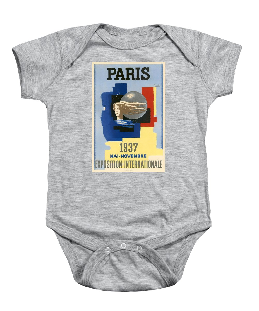 1937 Paris Exposition Baby Onesie featuring the digital art 1937 Paris Exposition by Georgia Fowler