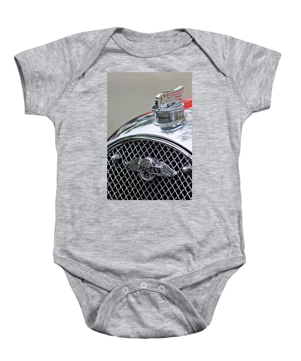 1953 Morgan +4 Le Mans Tt Special Baby Onesie featuring the photograph 1953 Morgan Plus 4 Le Mans Tt Special Hood Ornament    by Jill Reger