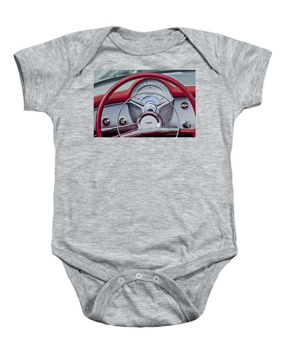 1954 Chevrolet Corvette Baby Onesie featuring the photograph 1954 Chevrolet Corvette Steering Wheel by Jill Reger