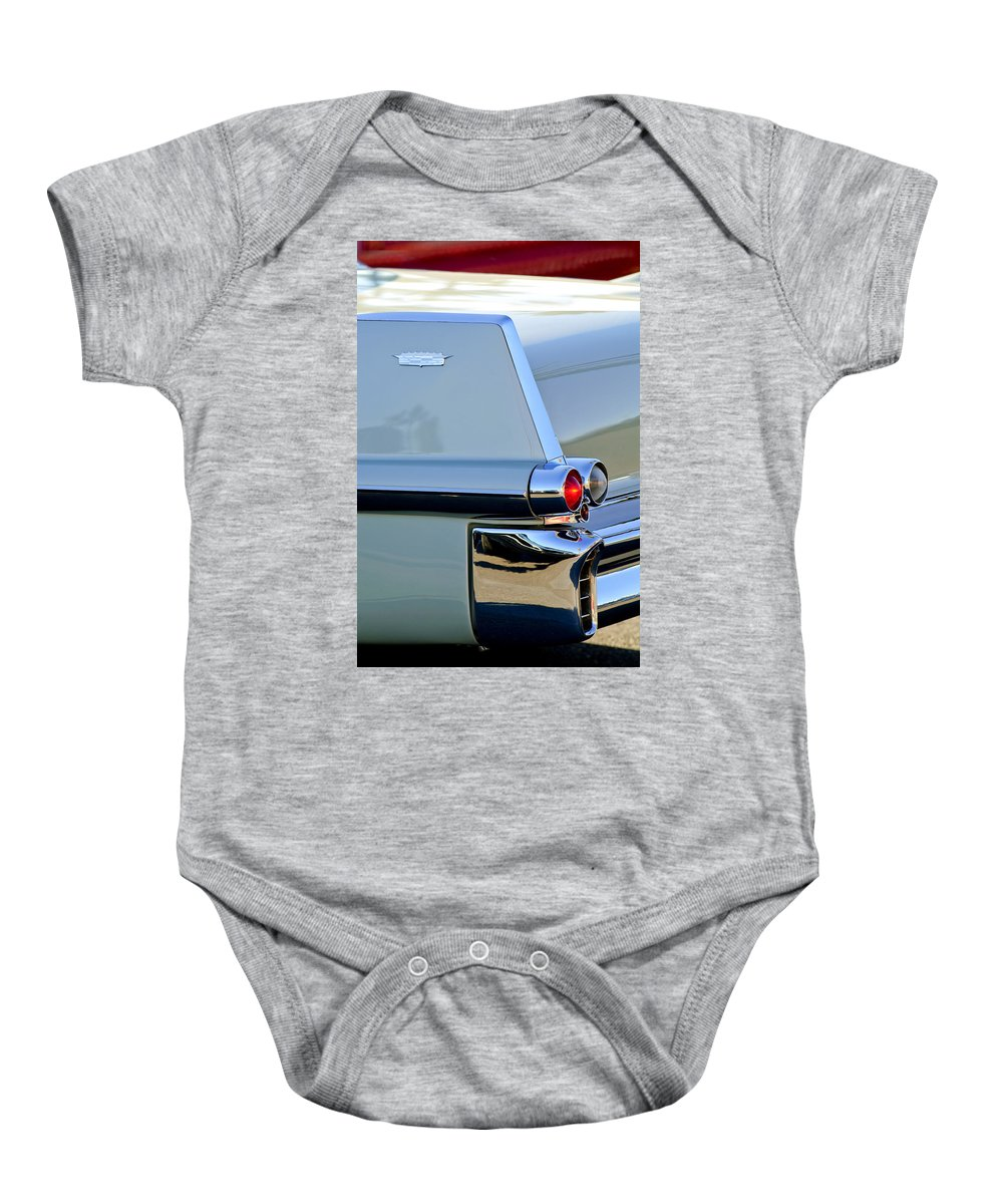 1957 Cadillac Baby Onesie featuring the photograph 1957 Cadillac Taillight by Jill Reger