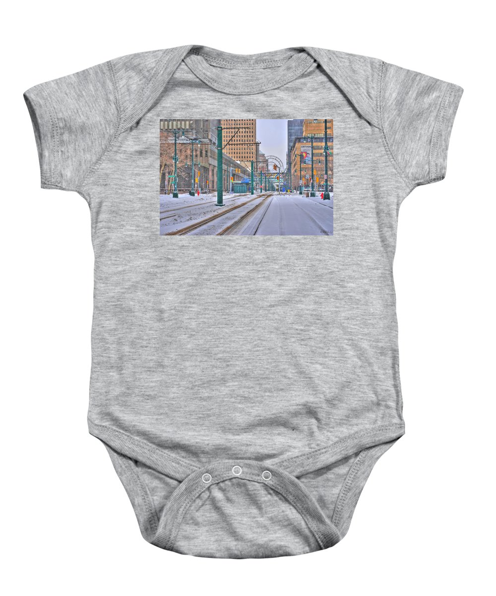 Baby Onesie featuring the photograph 1st Real Snowfall Metro Rail 2012 by Michael Frank Jr