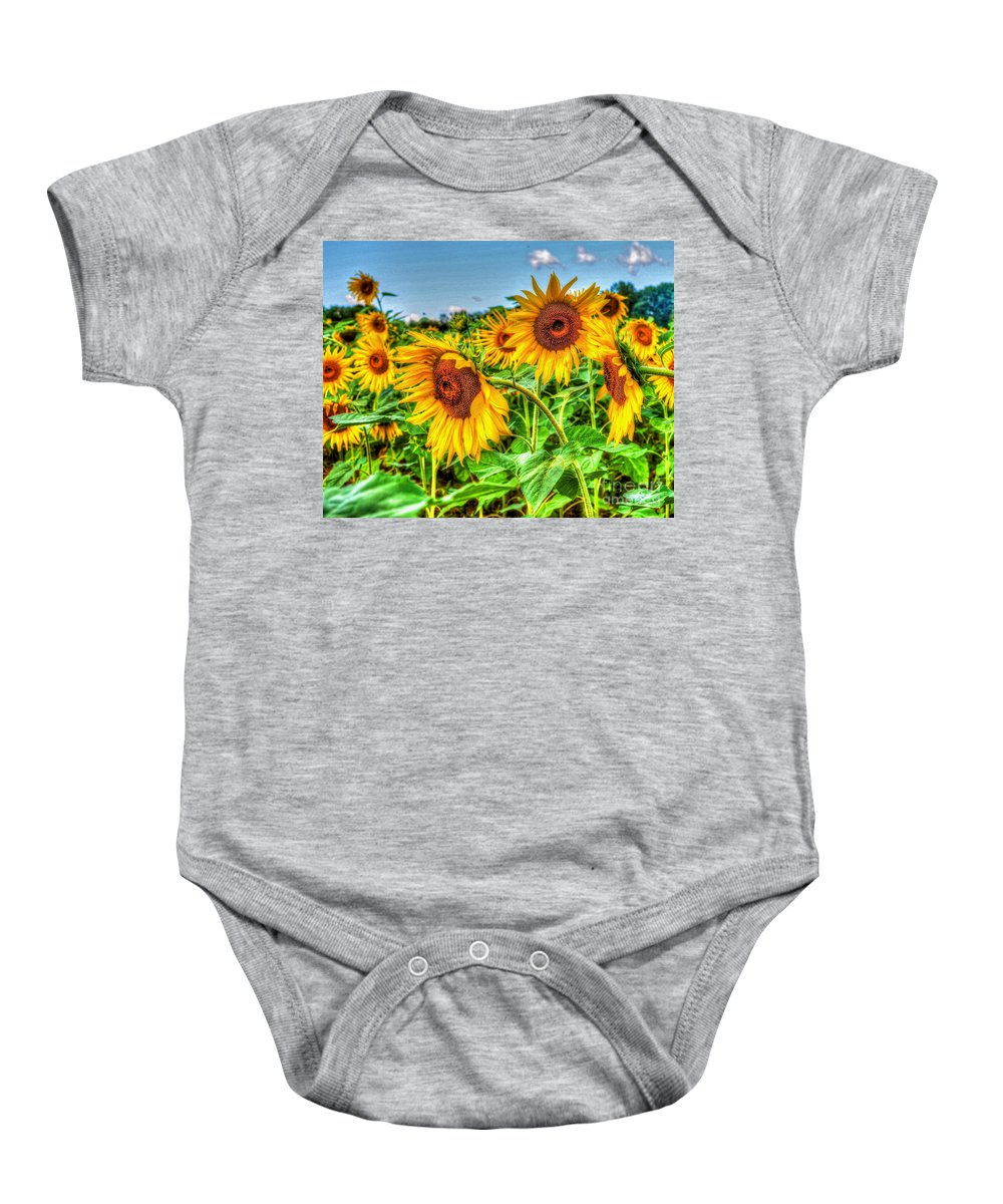 Sunflowers Baby Onesie featuring the photograph Field Of Dreams by Debbi Granruth