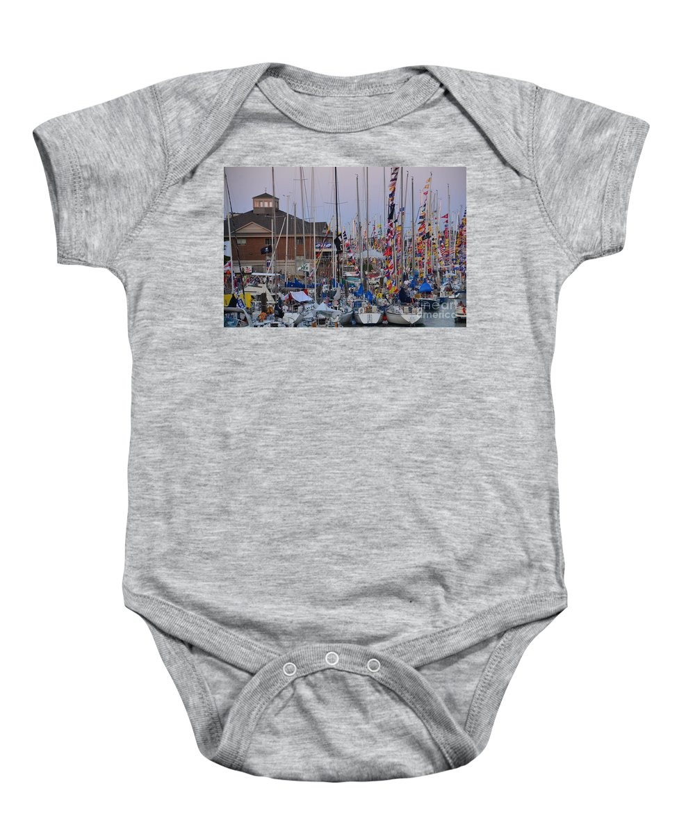 Sails Baby Onesie featuring the photograph Mackinac Race by Randy J Heath