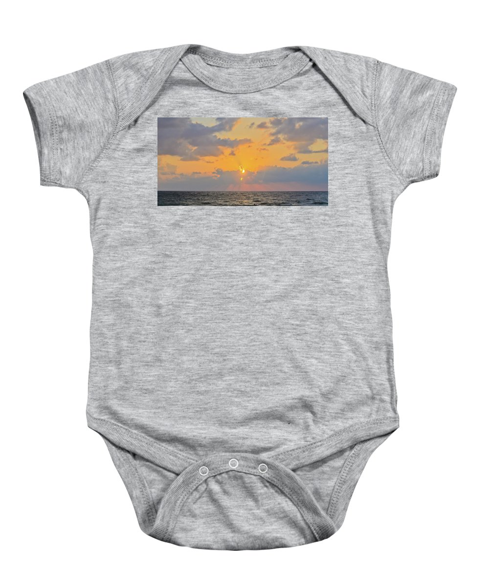 Blue Baby Onesie featuring the photograph Mediterranean Sunset by Michael Goyberg