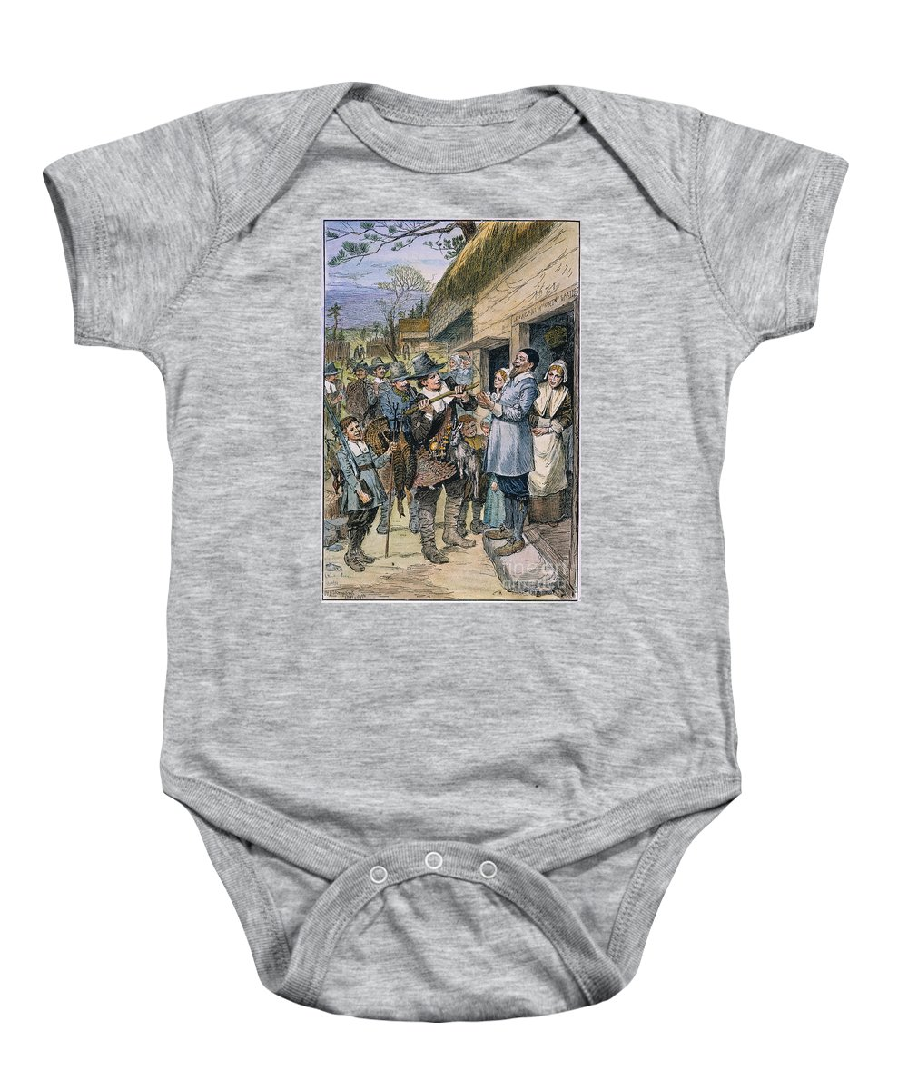 1621 Baby Onesie featuring the photograph Pilgrims: Thanksgiving, 1621 by Granger