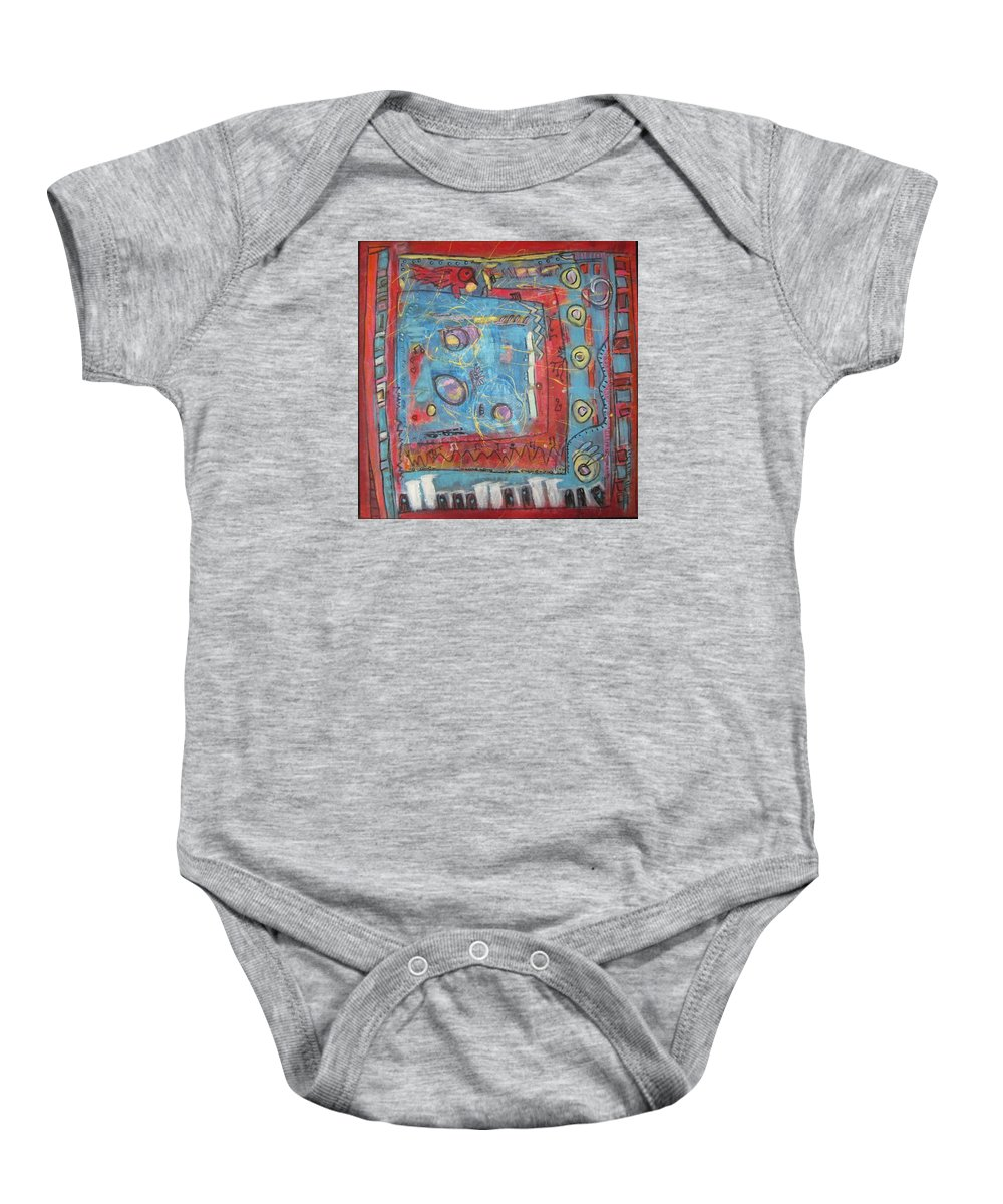 Abstract Baby Onesie featuring the painting Pour Jean-michel by Francine Ethier