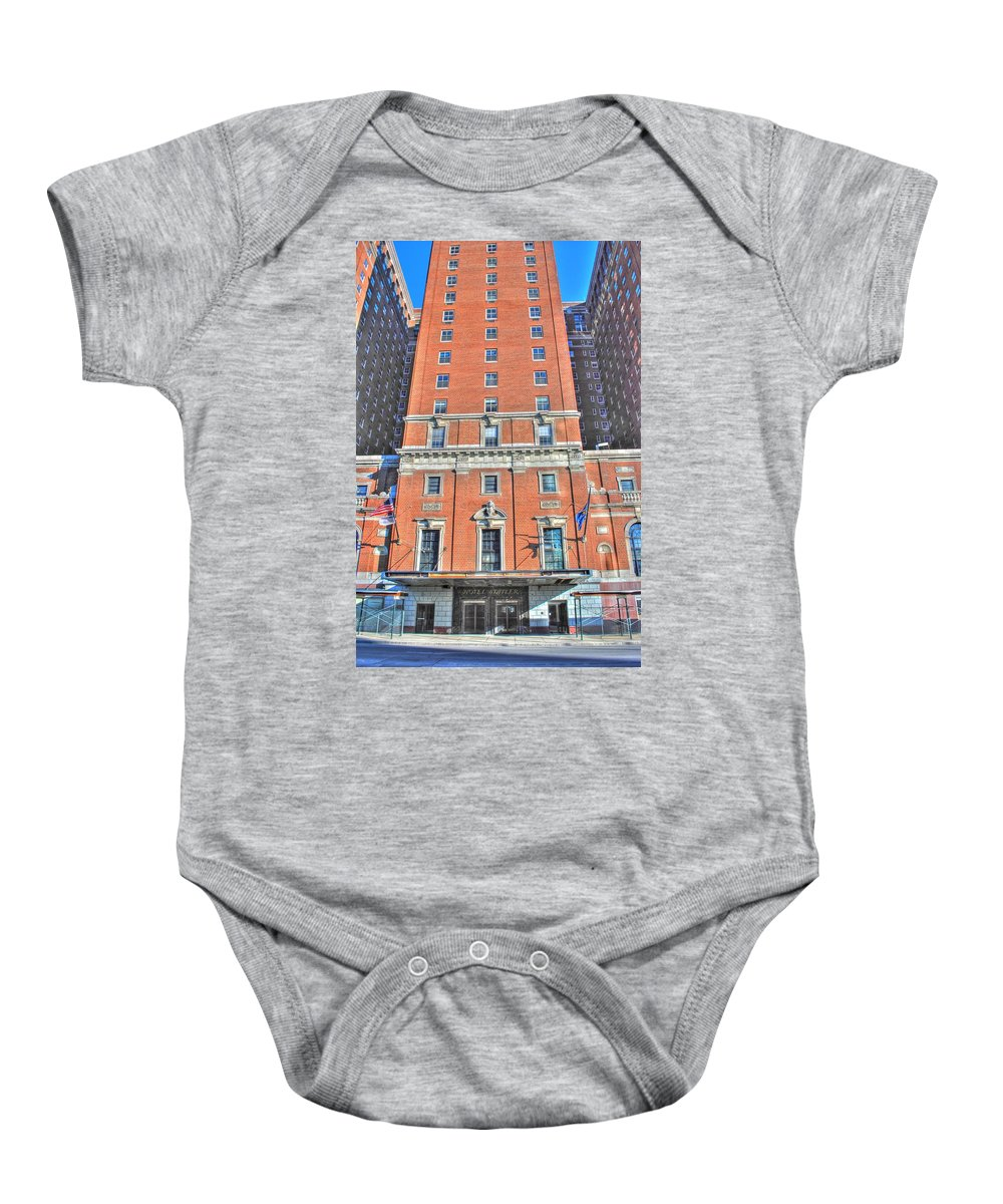 Baby Onesie featuring the photograph Statler Towers by Michael Frank Jr