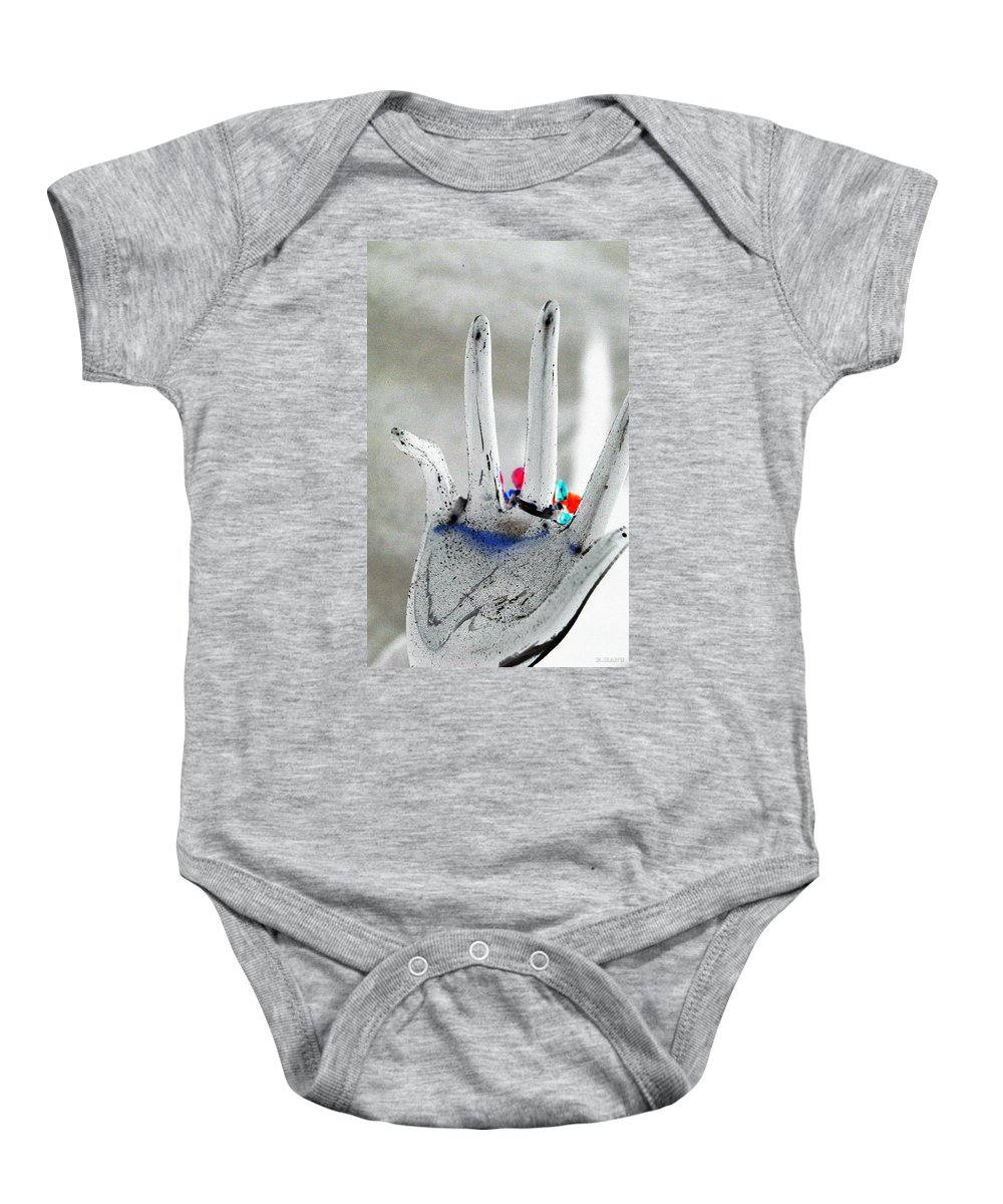 Hand Baby Onesie featuring the photograph The Black Hand In Negative by Rob Hans