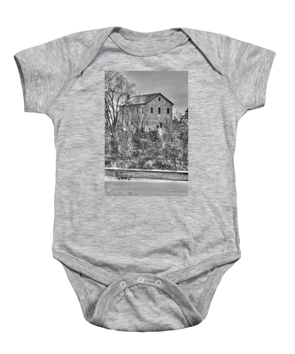 Old Baby Onesie featuring the photograph The Old Mill by Bill Lindsay