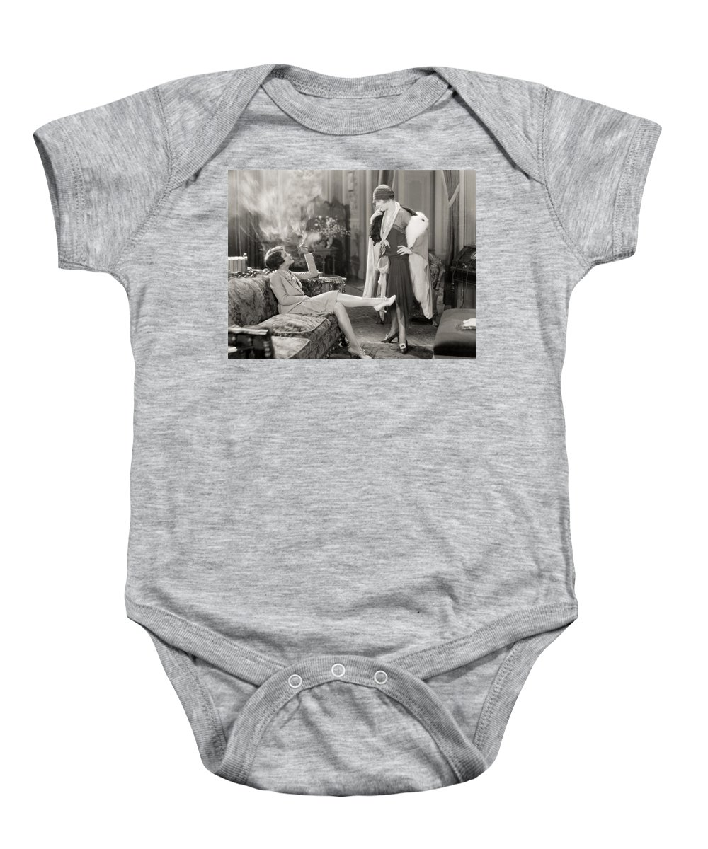-women Two- Baby Onesie featuring the photograph Silent Film Still by Granger