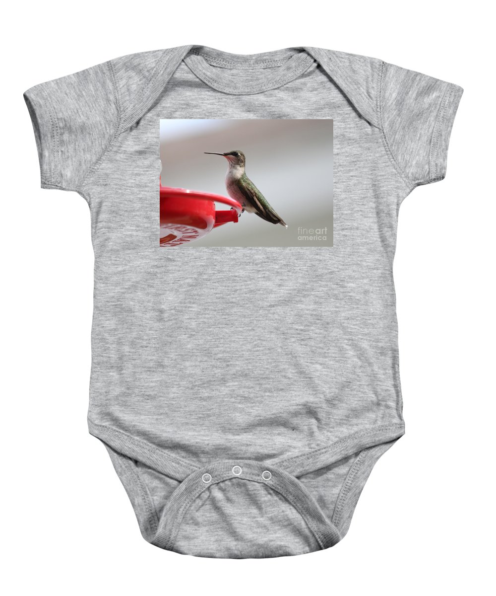 Hummingbirds Baby Onesie featuring the photograph Hummingbird by Lori Tordsen