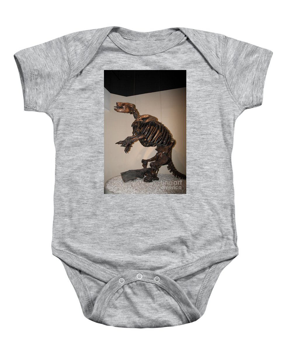 Animals Baby Onesie featuring the digital art La Brea Tar Pits by Carol Ailles