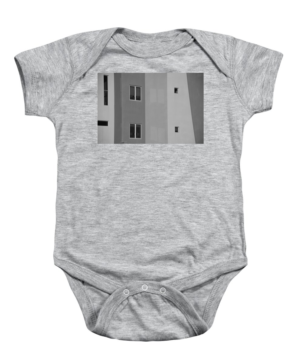 Architecture Baby Onesie featuring the photograph Qw School In Black And White by Rob Hans