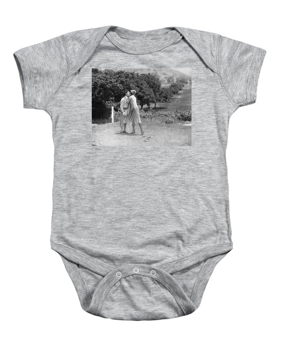 -sports- Baby Onesie featuring the photograph Silent Film Still: Golf by Granger