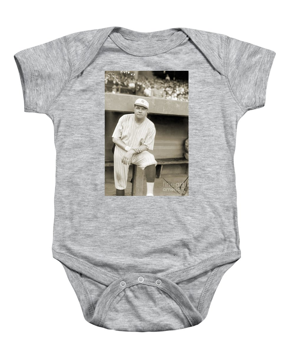 1921 Baby Onesie featuring the photograph George H. Ruth (1895-1948) by Granger