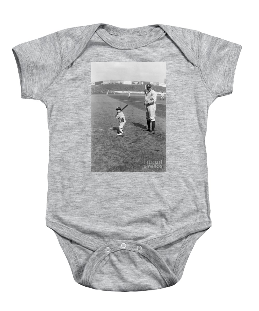 1922 Baby Onesie featuring the photograph George H. Ruth (1895-1948) by Granger