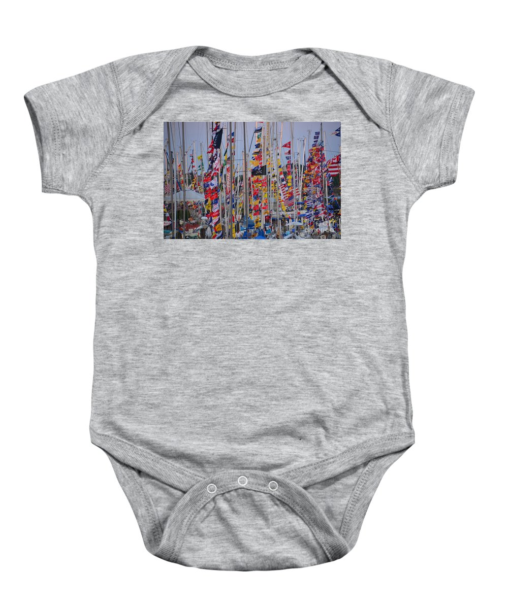 Mackinac Baby Onesie featuring the photograph Mackinac Race by Randy J Heath