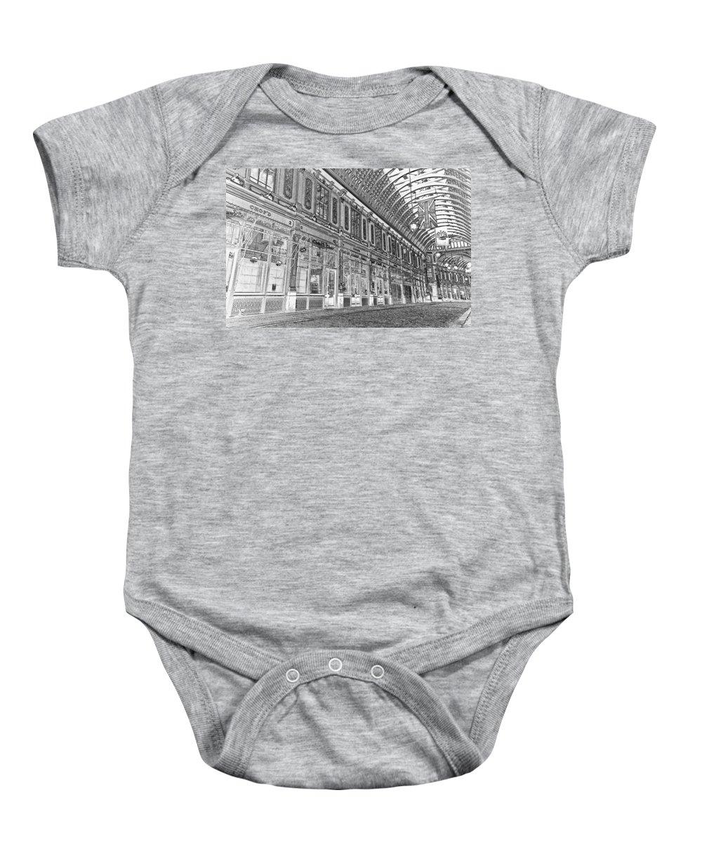Leadenhall Market Baby Onesie featuring the digital art Leadenhall Market London by David Pyatt