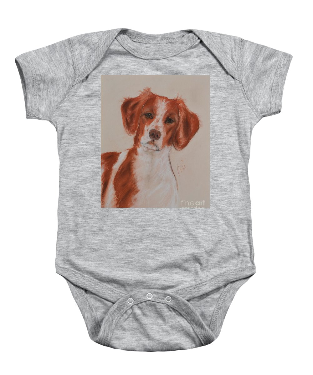 Brittany Baby Onesie featuring the drawing A Good Sport by Cori Solomon