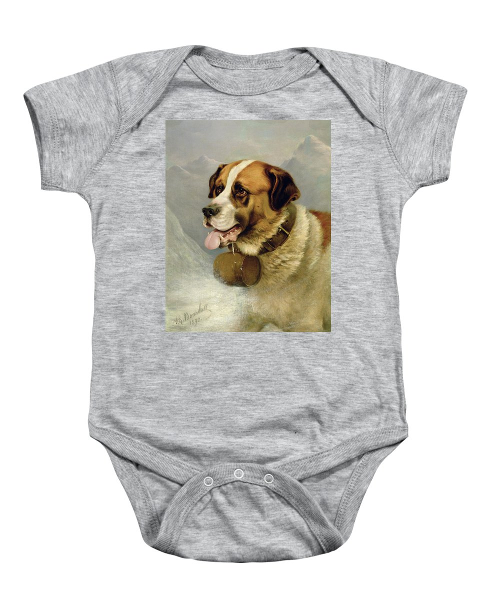 Cask; Dog; Alps Baby Onesie featuring the painting A Portrait Of A St. Bernard by James E Bourhill
