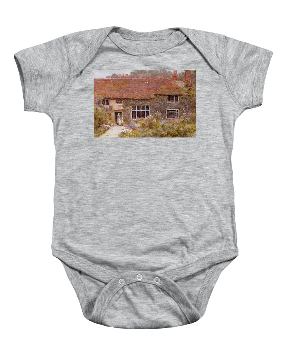 A Surrey Cottage Baby Onesie featuring the painting A Surrey Cottage by Helen Allingham