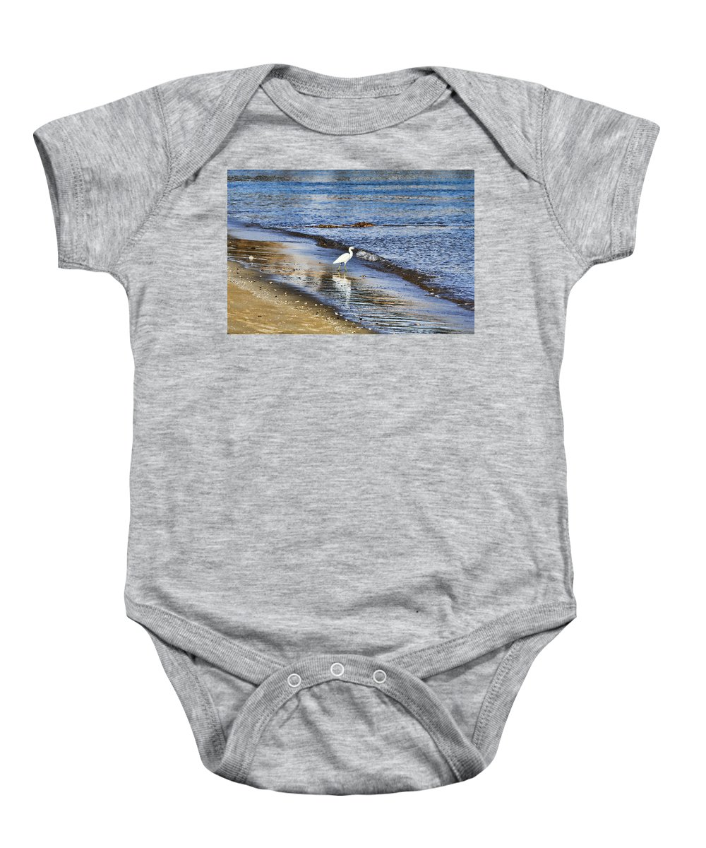 Egret Baby Onesie featuring the photograph A Visit To The Beach by Douglas Barnard