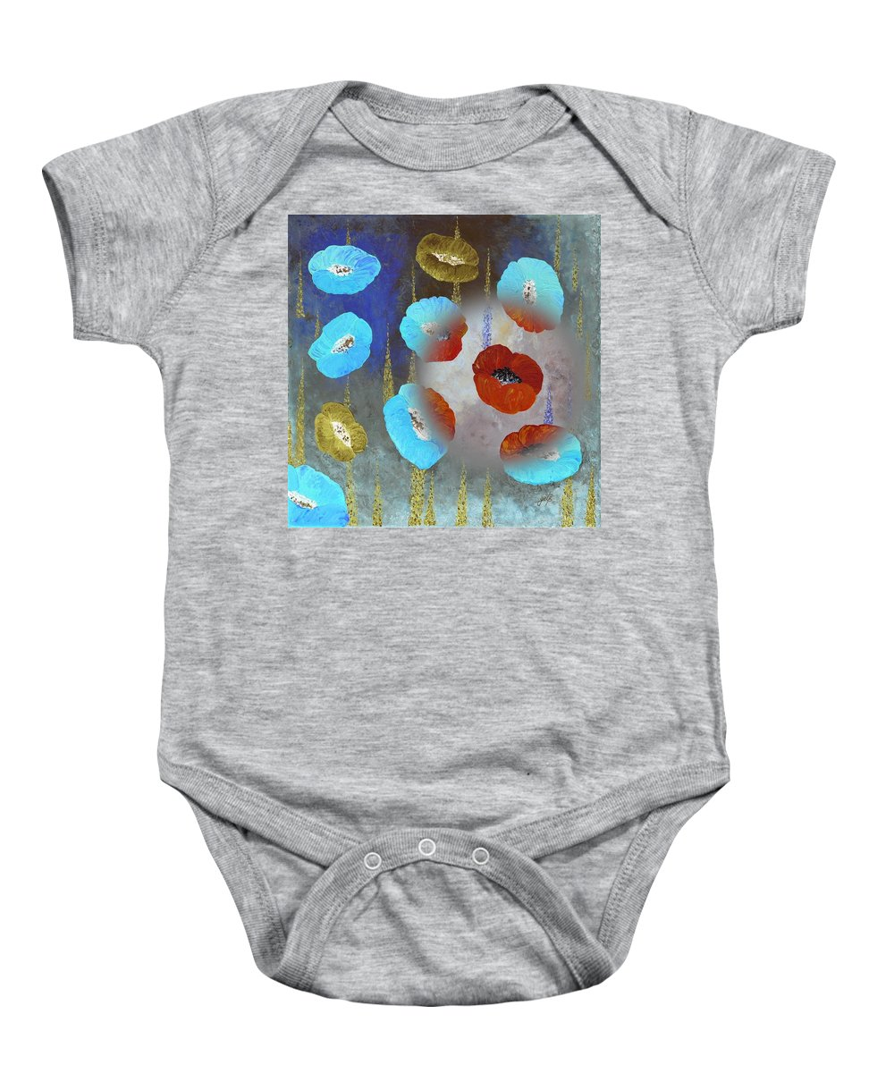Red Poppies Baby Onesie featuring the painting Abstract Colorful Poppies by Georgeta Blanaru