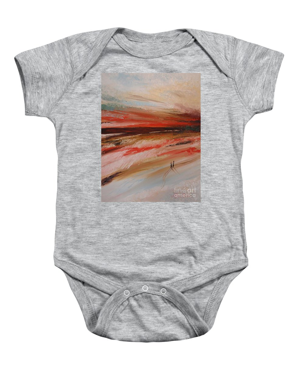 Oil Painting Baby Onesie featuring the painting Abstract Sunset II by Tatjana Popovska