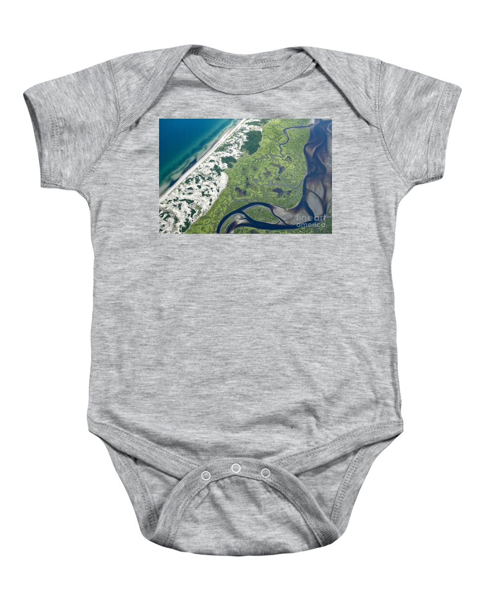 Aerials Baby Onesie featuring the photograph Aerial Vew Of Sandy Neck Beach In Barnstable On Cape Cod Massac by Matt Suess