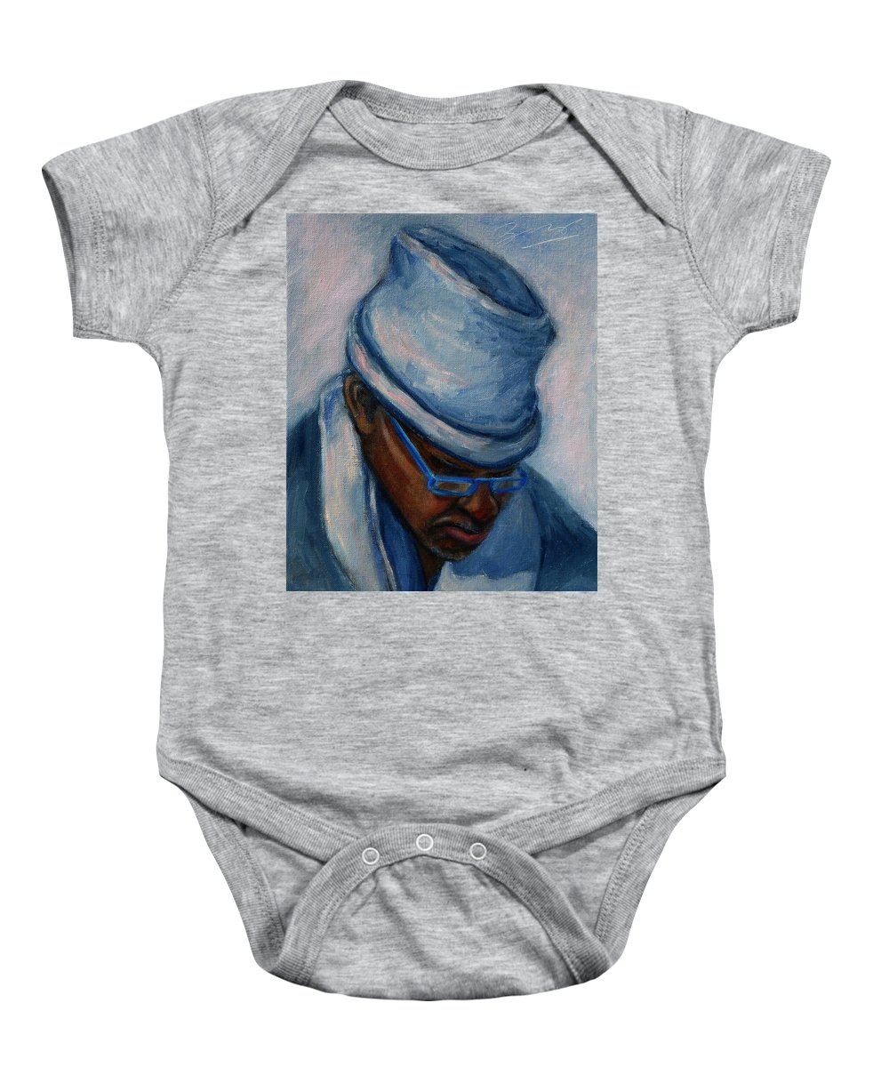 African American Baby Onesie featuring the painting African American 1 by Xueling Zou