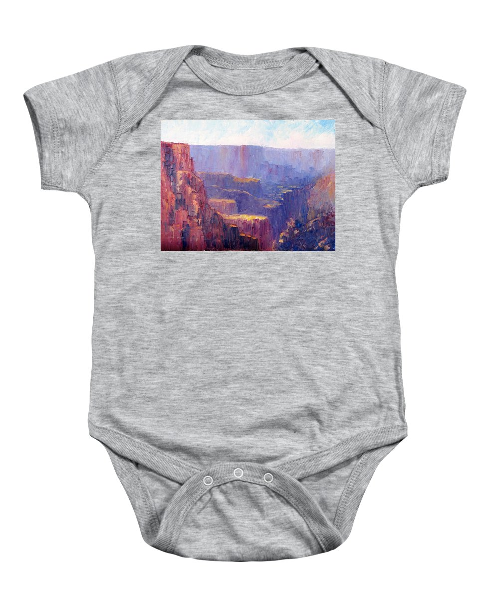 Grand Canyon Baby Onesie featuring the painting Afternoon In The Canyon by Terry Chacon