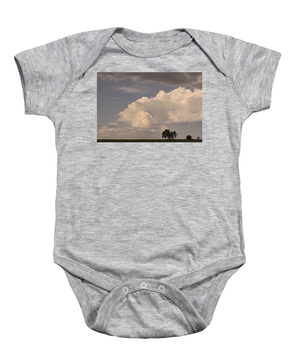Afternoon Baby Onesie featuring the photograph Afternoon Thunderstorm Building East Boulder County Co Plains by James BO Insogna