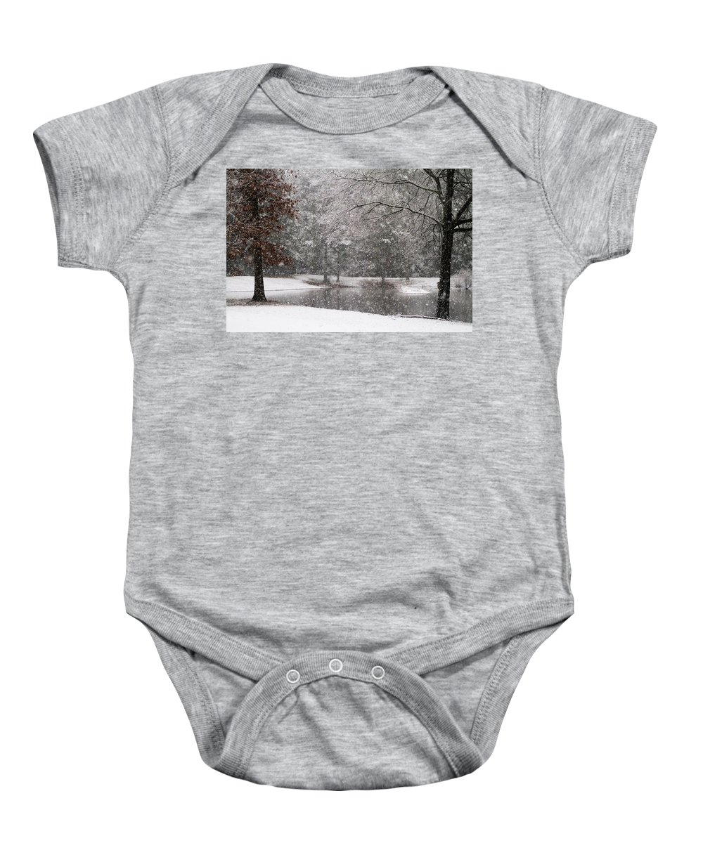 Winter Baby Onesie featuring the photograph Alabama Winter Wonderland by Kathy Clark
