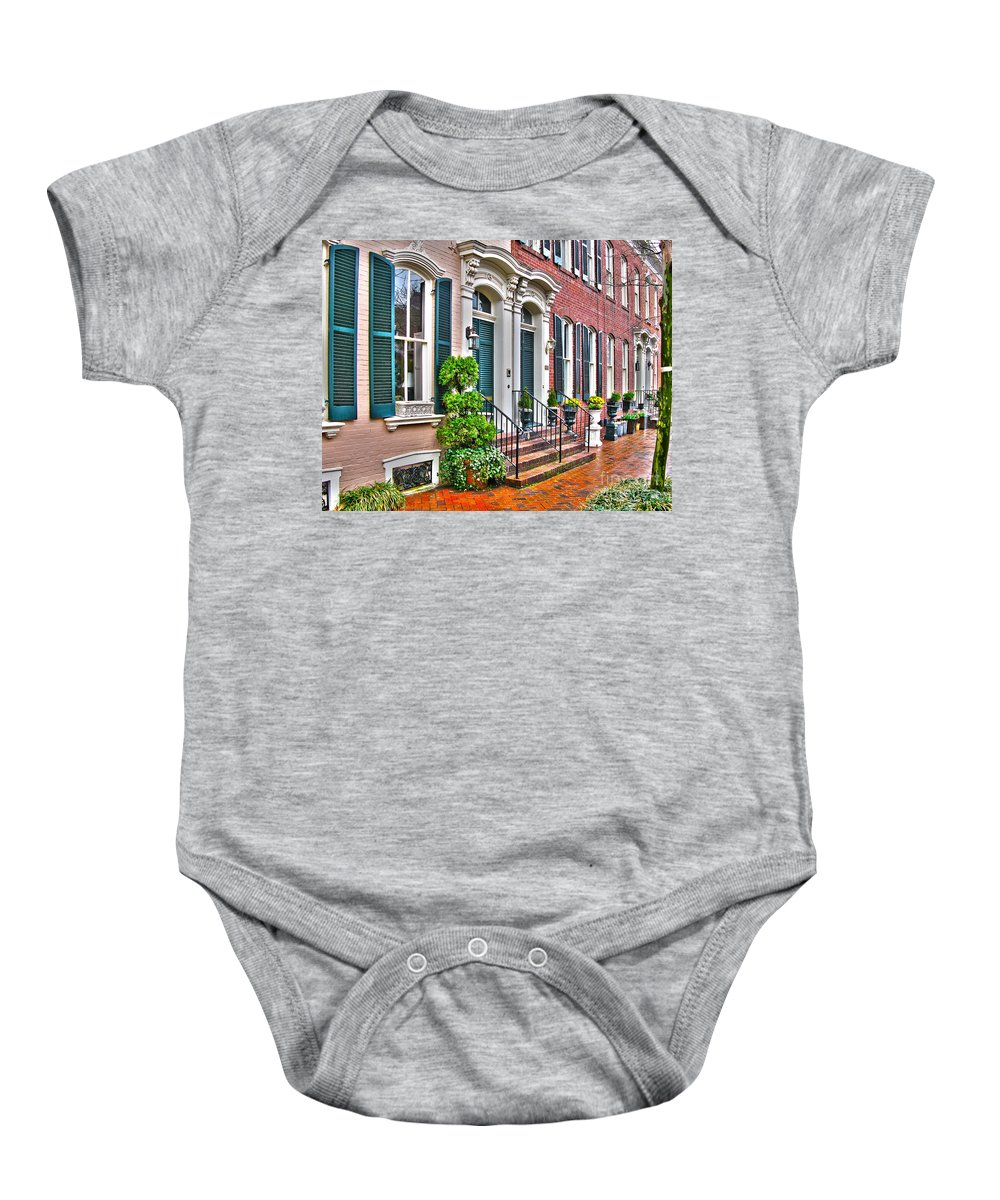 Alexandria Virginia Baby Onesie featuring the photograph Alexandria Row Houses by Jack Schultz