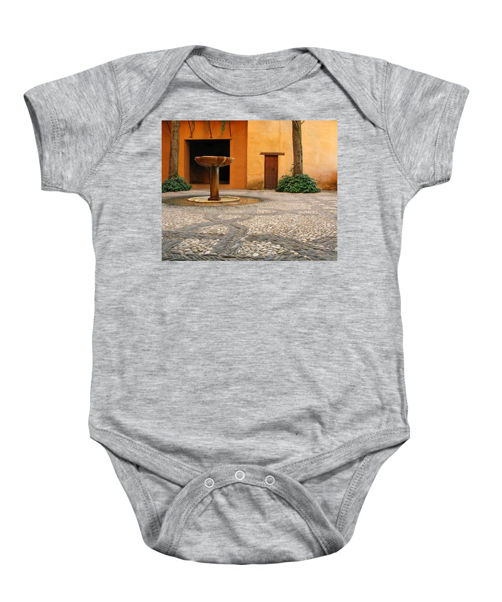 Courtyard Baby Onesie featuring the photograph Alhambra Courtyard And Fountain In Spain by Greg Matchick