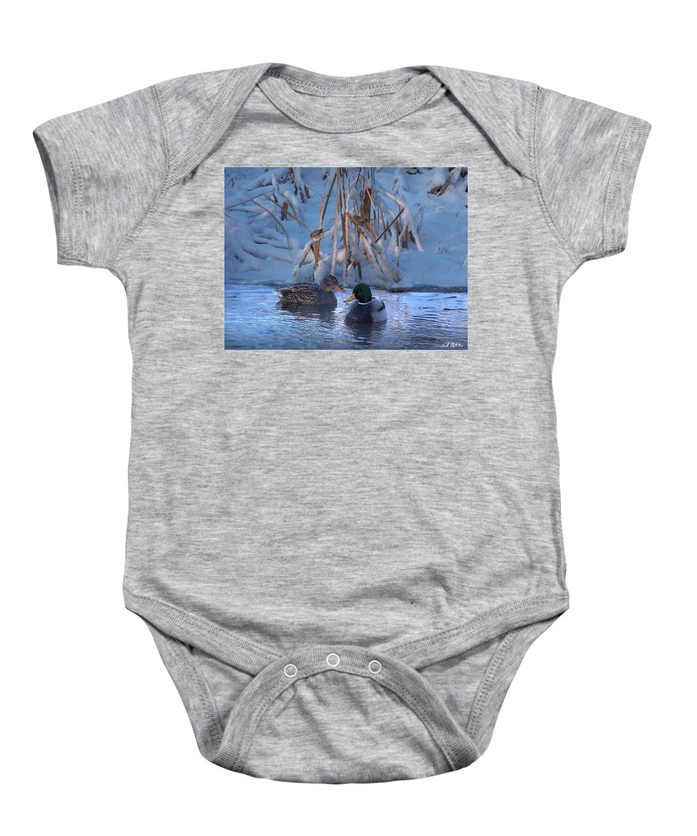 Wildlife Baby Onesie featuring the digital art All Is Calm by Bill Stephens